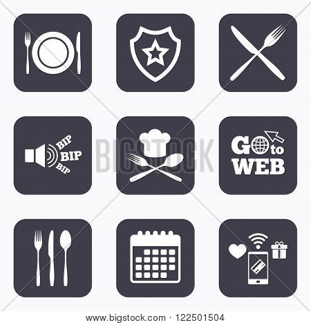 Mobile payments, wifi and calendar icons. Plate dish with forks and knifes icons. Chief hat sign. Crosswise cutlery symbol. Dining etiquette. Go to web symbol.
