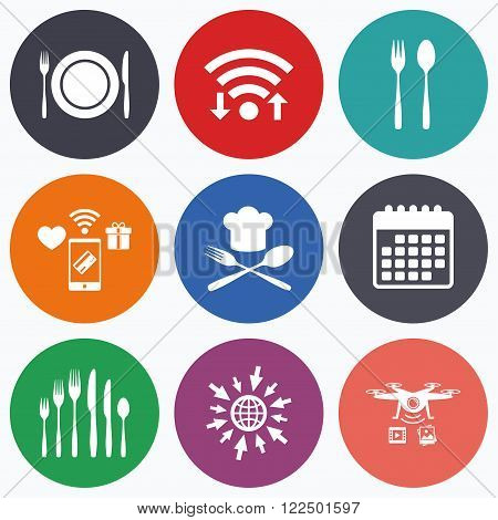 Wifi, mobile payments and drones icons. Plate dish with forks and knifes icons. Chief hat sign. Crosswise cutlery symbol. Dessert fork. Calendar symbol.