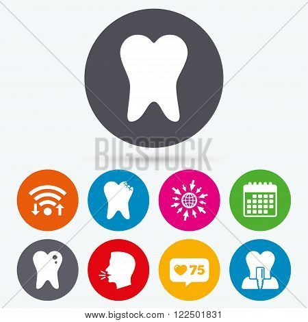 Wifi, like counter and calendar icons. Dental care icons. Caries tooth sign. Tooth endosseous implant symbol. Human talk, go to web.