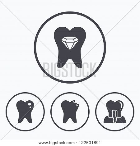 Dental care icons. Caries tooth sign. Tooth endosseous implant symbol. Tooth crystal jewellery. Icons in circles.