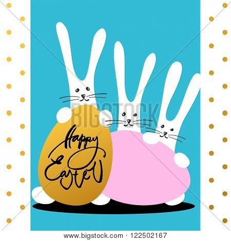 Happy easter card. Three easter bunnies and three easter eggs.  Template easter background. Funny easter rabbits. Vector illustration.