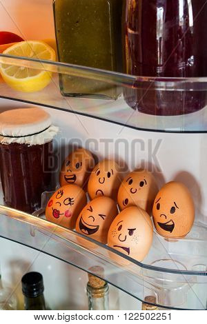Egg Faces With Emotions