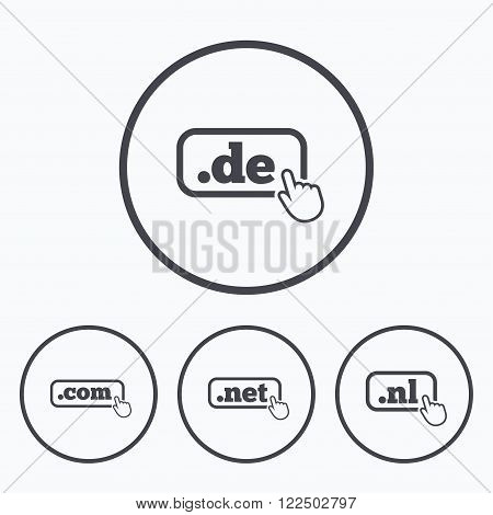 Top-level internet domain icons. De, Com, Net and Nl symbols with hand pointer. Unique national DNS names. Icons in circles.