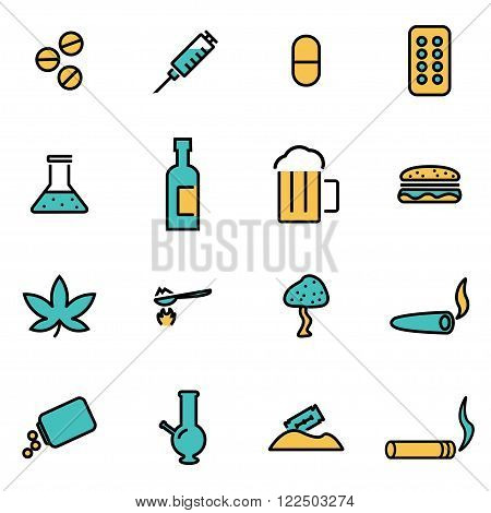 Trendy flat line icon pack for designers and developers. Vector line drugs icon set