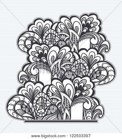 Zen-doodle or Zen-tangle texture or pattern  black on white for coloring page or relax coloring book or wallpaper or for decorate package clothes or different things