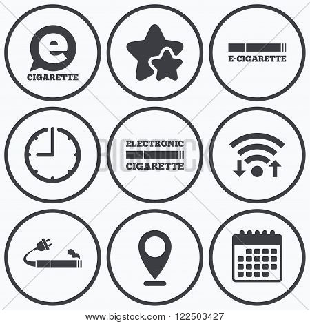 Clock, wifi and stars icons. E-Cigarette with plug icons. Electronic smoking symbols. Speech bubble sign. Calendar symbol.