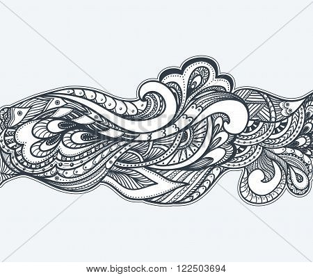 Zen-doodle or Zen-tangle decoration border background black on white for coloring page or relax coloring book or wallpaper or for decorate package clothes or different things