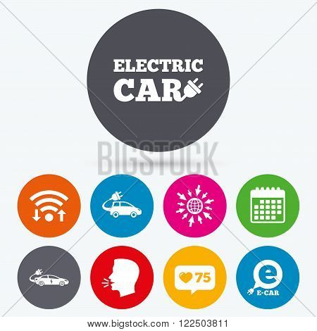 Wifi, like counter and calendar icons. Electric car icons. Sedan and Hatchback transport symbols. Eco fuel vehicles signs. Human talk, go to web.