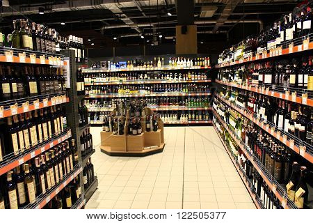 Chernihiv / Ukraine. 06 March 2016 : alcoholic drinks on the shelves of supermarket in Chernihiv town, Ukraine. 06 March 2016 in Chernihiv / Ukraine.