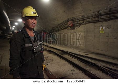 BARTIN,TURKEY-APRIL 5, 2014: Chinese mine workers began working in Turkey on April 5, 2014 in Bartin,Turkey. ** Note: Soft Focus at 100%, best at smaller sizes