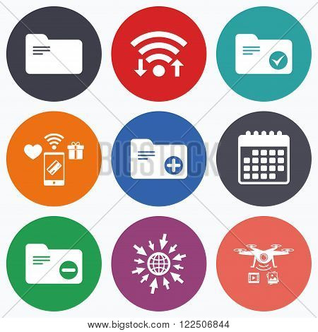 Wifi, mobile payments and drones icons. Accounting binders icons. Add or remove document folder symbol. Bookkeeping management with checkbox. Calendar symbol.