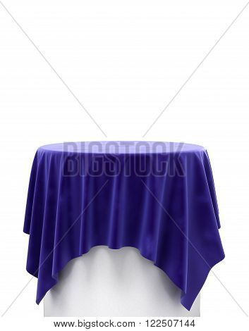Blue Velvet Cloth On A Round Pedestal Isolated On White