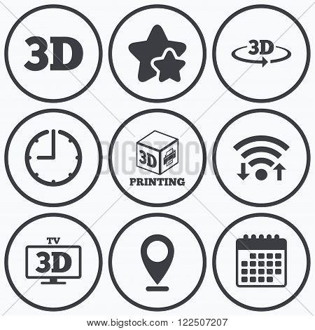 Clock, wifi and stars icons. 3d technology icons. Printer, rotation arrow sign symbols. Print cube. Calendar symbol.
