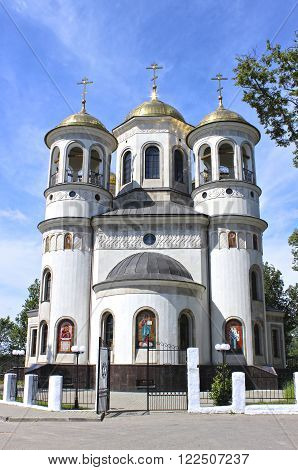 ZVENIGOROD, RUSSIA - JUNE 20, 2012: Christian church of the Ascension in Zvenigorod Russia on a sunny day