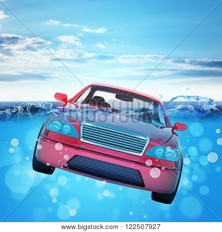 Car drowning in sea and blue sky