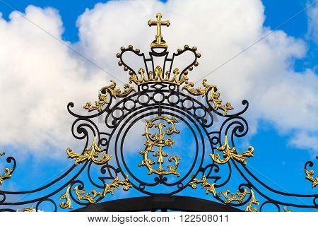 The Tsarskoye Selo State Museum-Preserve Cathrine monogram on the palace gates.