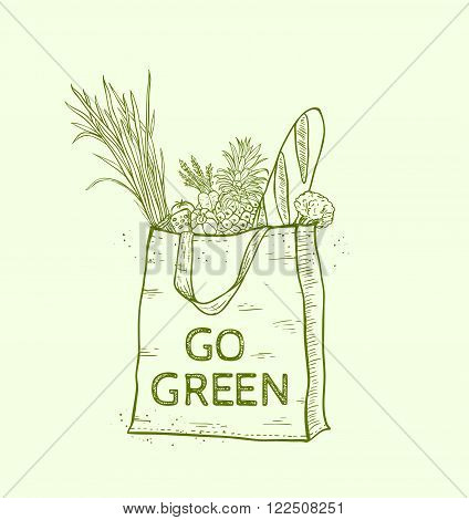Reusable shopping eco bag with fresh food. Hand drawn vector illustration.