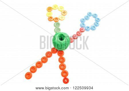 Ball Of Thread And Colored Buttons