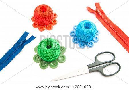 Zipper, Scissors, Thread And Buttons