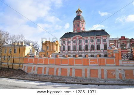 Church of the Annunciation of the Alexander Nevsky Lavra ancient monastery in Baroque style in center of St.Petersburg Russia.