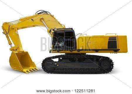 Image of heavy modern excavator with yellow color and shovel isolated on white background