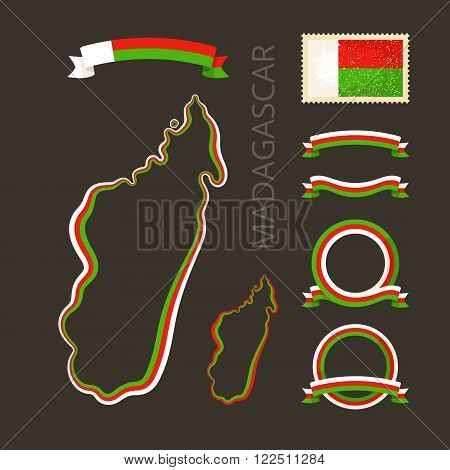 Outline map of Madagascar. Border is marked with ribbon in national colors. The package contains frames in national colors and stamp with flag.