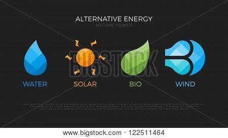 Alternative energy sources. Templates for renewable energy or ecology logo. Nature power symbols. Origami.