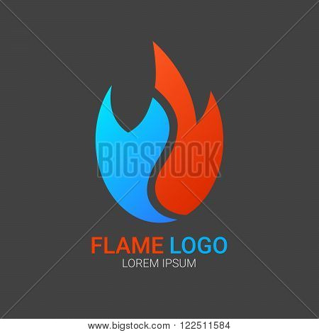 Fire Flame vector logo design template. Vector colorful design elements. Fire Flame creative icon. Abstract fire flame logo.