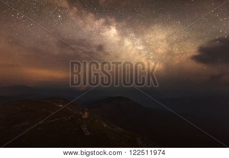 Carpathian Mountains. Mount Pop Ivan. The starry sky and the Milky Way on the mountain