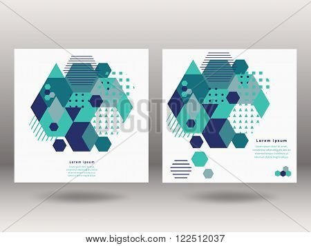 Set of vector brochure front and back side templates in geometric abstract style . Geometric shapes Abstract Modern Backgrounds Infographic Concept. Vector