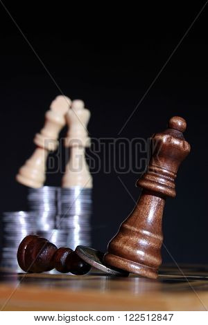 Relationships between men and women presented in the form of chess pieces and material benefit. Spiritual Warfare.