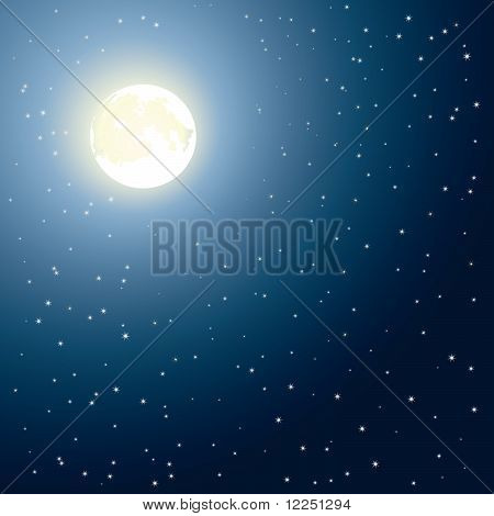 Glowing moon and stars