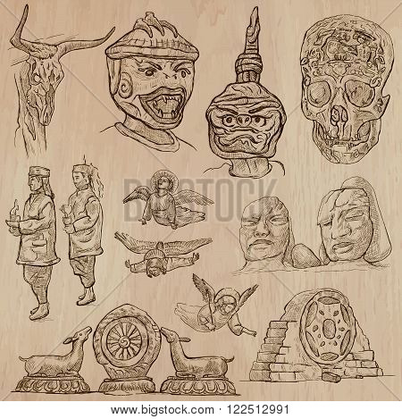 Native and old Art pack. Description - Vectors freehand sketching. Editable in layers and groups. Background is isolated. All things are named inside the vector file.
