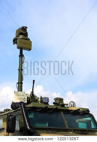 MOSCOW REGION - AUGUST 26: Armoured tactical wheeled vehicle with the means of observation and fire strikes - on August 26, 2015 in Moscow region