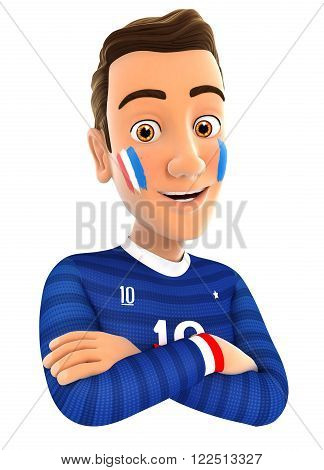 3d french soccer fan with arms crossed isolated white background