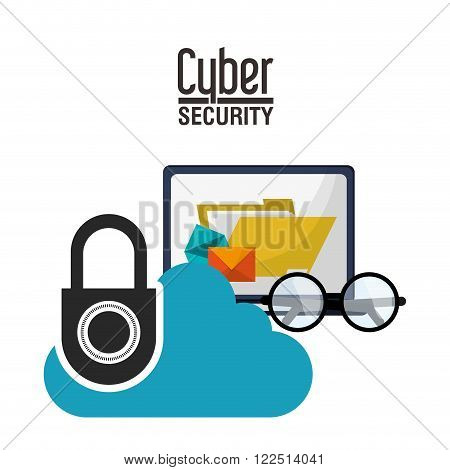Cyber security concept with icon design, vector illustration 10 eps graphic.
