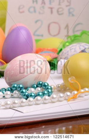 invitation card with easter eggs holiday concept