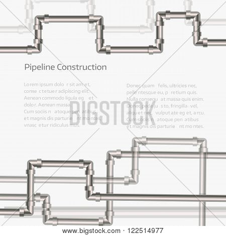 Abstract horizontal background with flat designed pipeline. Concept for web newsletters water, wastewater or oil pipeline industry. Vector illustration.