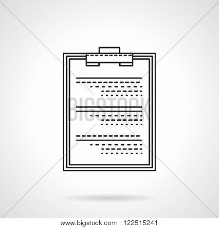 Medical exam flat thin line vector icon