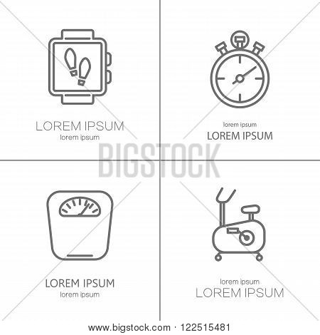 Vector logo for sport, fitness, personal trainer program, GYM. Line icons isolated on white background.