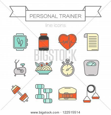 Vector set of color flat line icons for personal trainer program includes sports equipment,  objects for gym training, bodybuilding and active lifestyle. Fitness elements isolated on background.