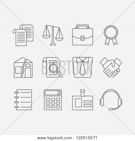 Vector set of modern flat line icons for law firm includes blank icons, tariffs, division of property, etc. Juridical elements isolated on background.
