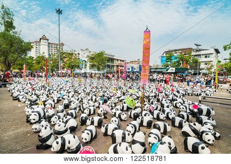 Chiang Mai, Thailand - March 19, 2016 : 1600 Pandas World Tour In Thailand At Tha Phae Gate In Chian