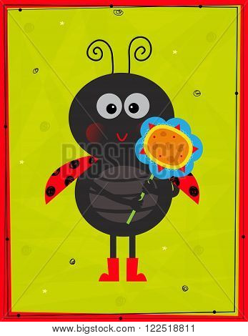 Cute ladybug with a flower in front of a decorative green background and red frame. Eps10