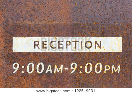 Metal reception sign board clos - up