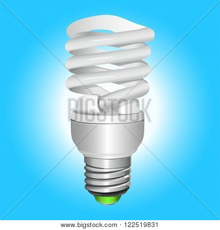 Fluorescent energy saving light bulb. Vector Illustration.