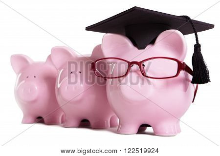 Piggy bank college student graduate graduation concept education success teaching graduating piggybank with glasses