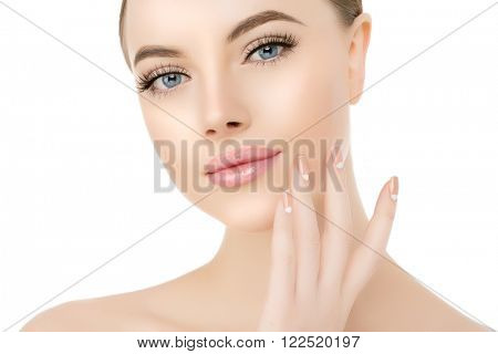 Beautiful woman face close up studio on white Beauty spa model female, clean fresh perfect skin closeup Youth care concept Portrait girl looking at camera, smiling. Cosmetology, manicure nails, hands