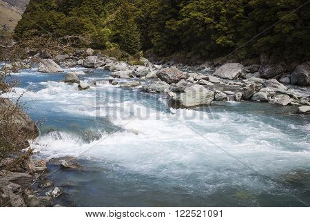 River landscape in Rob Roy NP at the South Island