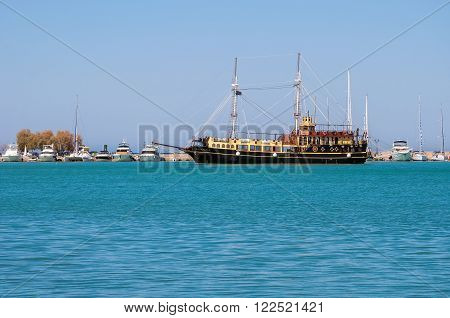 Old wooden two-masted ship in Zakynthos port